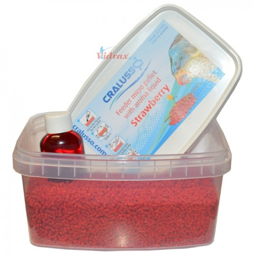 Пелети с течна добавка Feeder micro pellet with liquid Strawberry 400 г - Cralusso