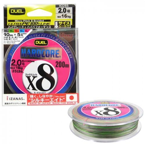 8 нишково плетено влакно HARDCORE X8 200 м - PE 1.2 - Duel
