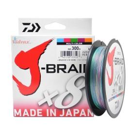 Плетено влакно J-Braid x8 Multi Color 300 м - 0.18 мм - Daiwa