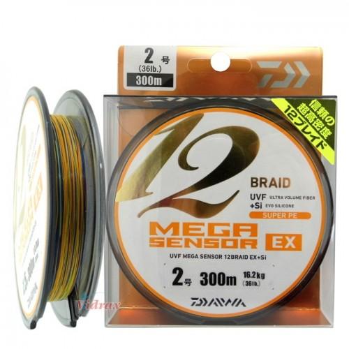 Плетено влакно UVF Mega Sensor x 12 Braid EX + Si #1.5 - 300 м - Daiwa