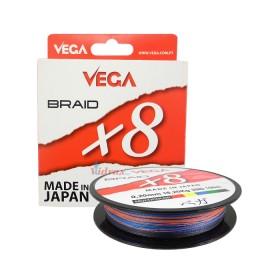 Плетено влакно Braid X8 Multicolor 0.18 мм 150 м - Vega
